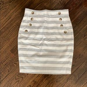 NWT Loft Striped skirt with button detail. Size 2P